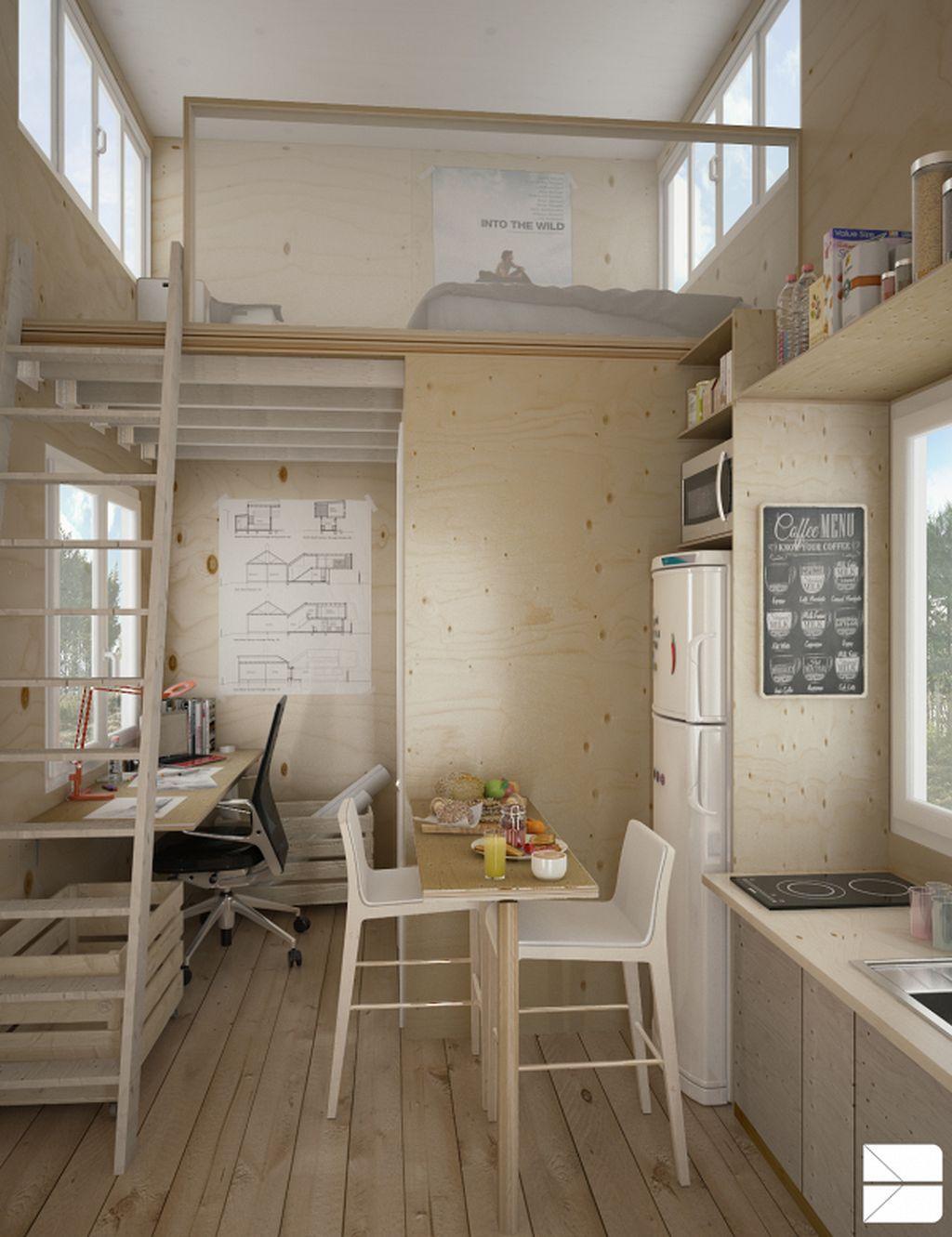 Stunning 40 Clever Micro Apartment Organization Ideas Https Kidmagz Com 40 Clever Micro A Small House Interior Design Small House Interior Tiny House Design