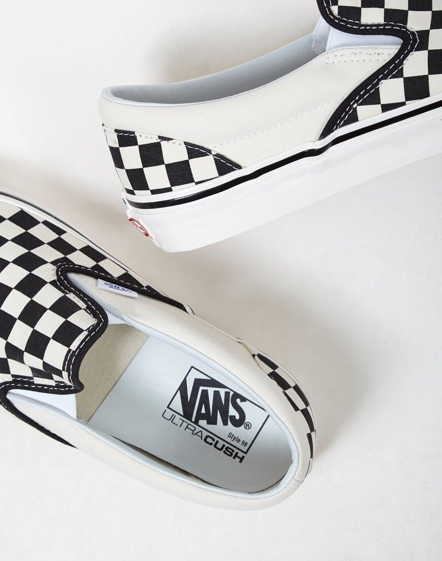 53c48ab6f43 Vans Classic Slip On 98 DX Plimsoll Black   White Checks - SALE at The Idle