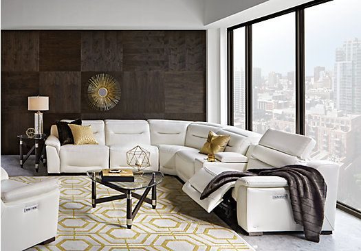 Picture Of Sofia Vergara Gallia White Leather 5 Pc Power Plus Reclining Sectional From R Living Room Leather Living Room Sets Furniture Leather Living Room Set