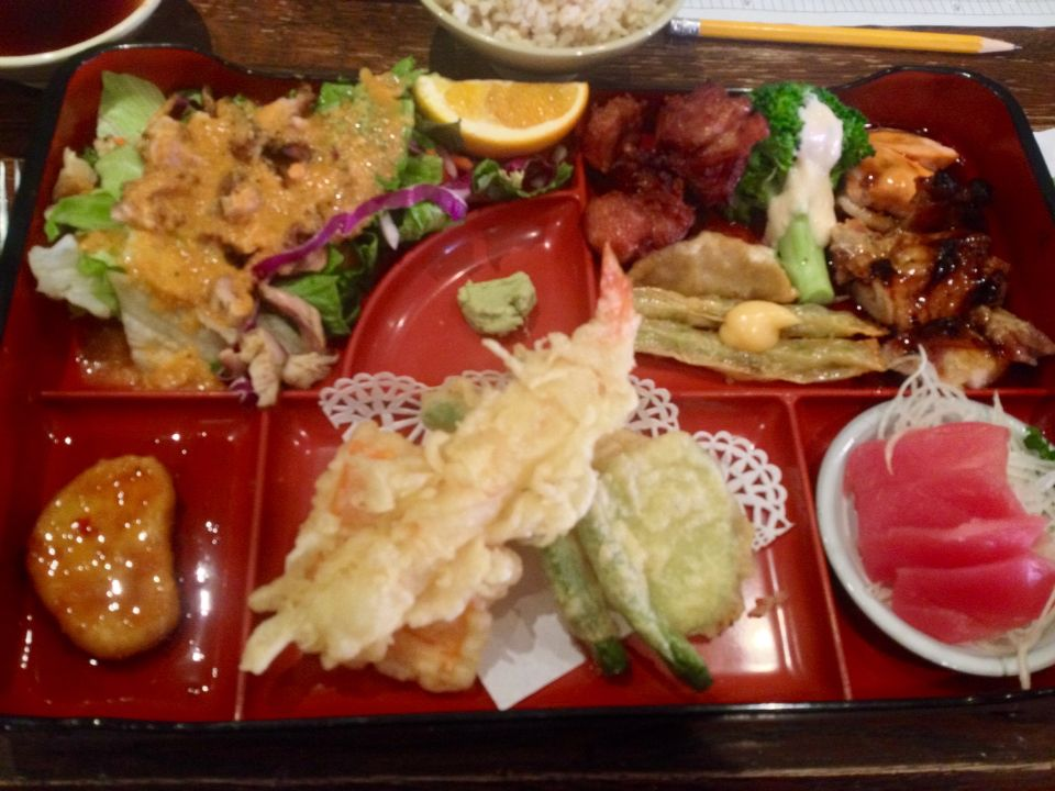 Lunch box bento with sashimi