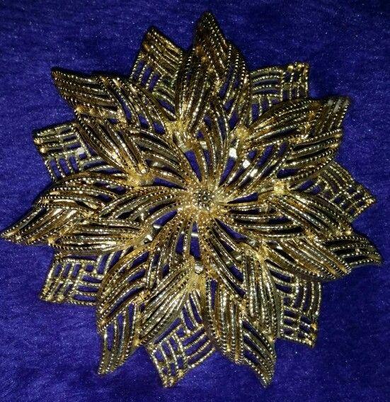 Monet Poinsettia gold tone pin My Jewelry Box Pinterest
