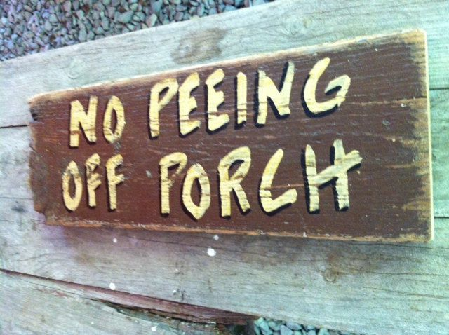 No peeing off porch