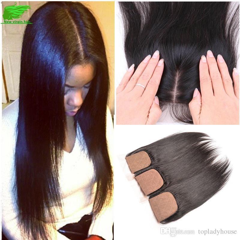 Dhl 8a Brazilian Straight Cheap Silk Base Closure Human Hair Silk