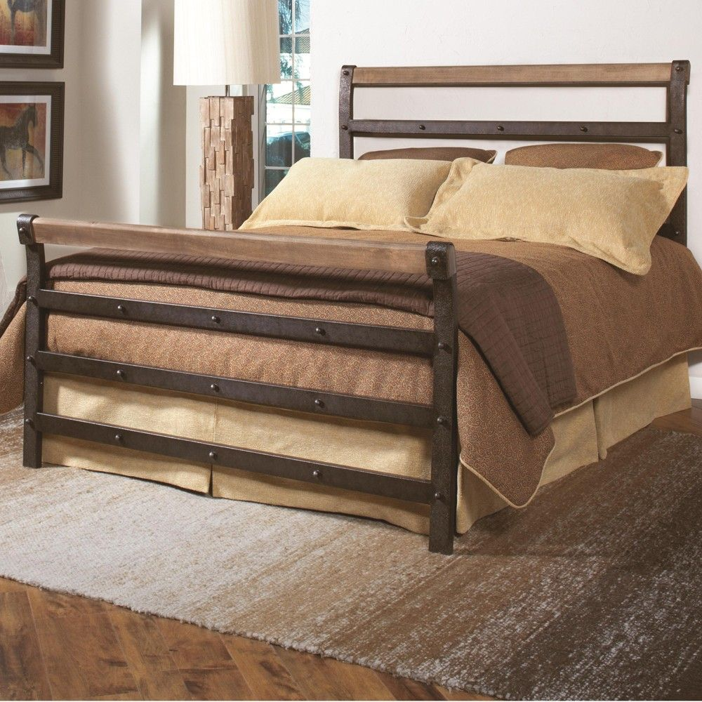 Fargo Wood U0026 Iron Bed In Weathered Steel/Distressed Wood By Largo Furniture