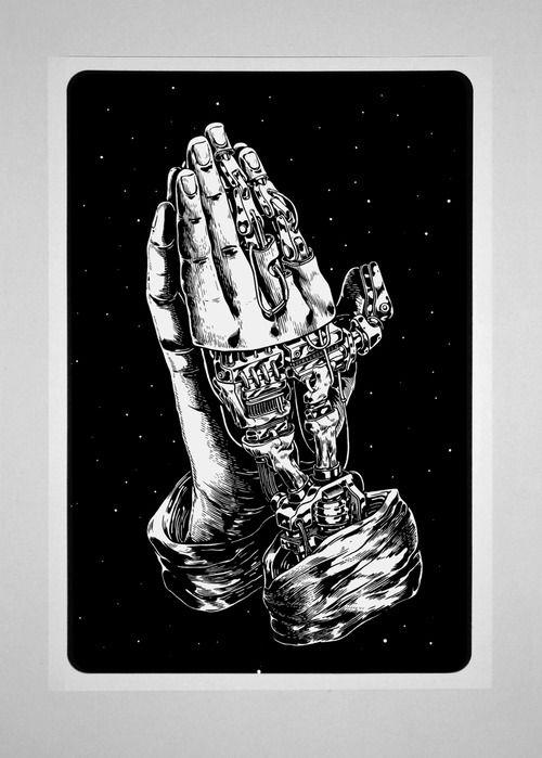 smitheone:  Estampa de las Santísimas Manos en Plegaria - Serigrafía (80 X 50cm.) - *Buy Here*  PRAY FOR ROBOTS.