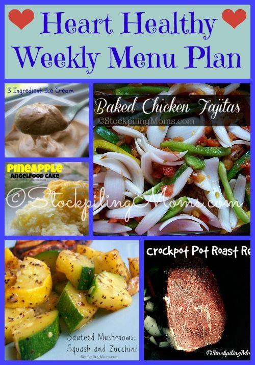 Heart Healthy Weekly Menu Plan Heart Healthy Snacks Heart