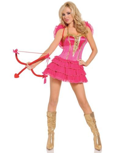 womens sexy cupid costume pink dress l adult halloween deluxe fancy valentine - Valentine Costumes