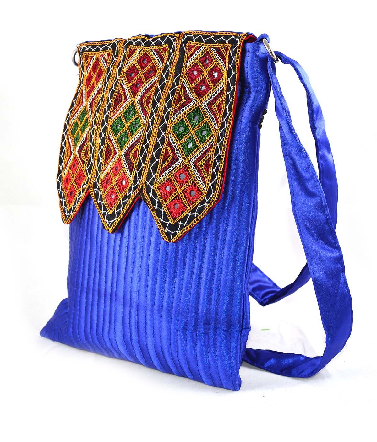 0a679872b5f3 Silk Pandada Flap Bag made up of Satin material with mirror and Embroidery  work. This handmade bags main pocket include 1 chain pockets back side and  ...