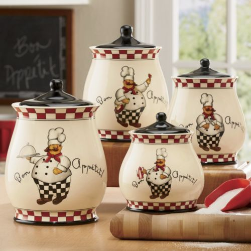 bon appetit chef 4 piece canister set from through the bon appetit chef kitchen decor Bon Appetit Chef Decor
