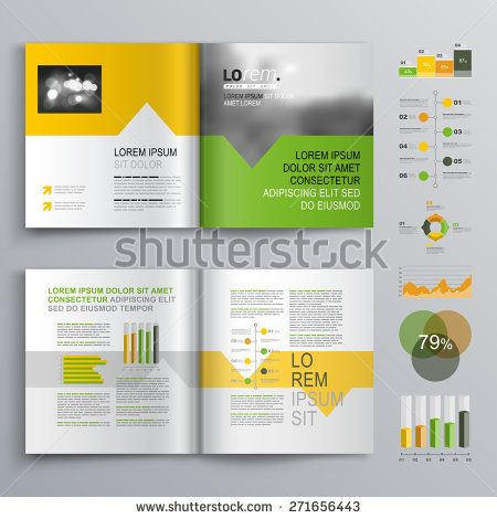 White Brochure Template Design With Green Orange And Yellow