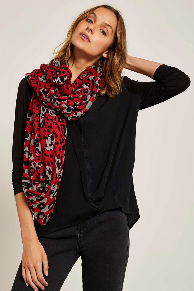 ade253fa23b19 Womens Mint Velvet Red Salma Leopard Print Scarf - Red | Products ...