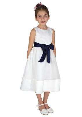 9ba7895faa lavender by Us Angels IvoryNavy Flower Girl Satin And Organza Sleeveless  Bodice With Sash And Hem Full Skirt- Girls 7-16