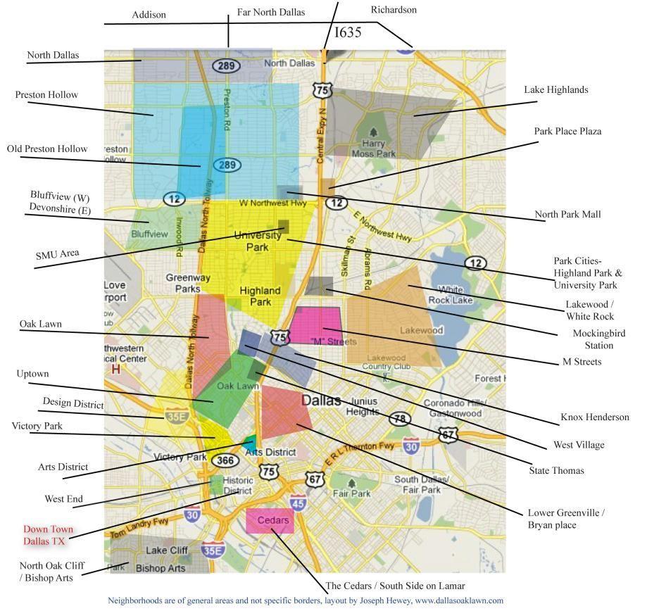 map of Dallas neighborhoods Texas Pinterest Dallas