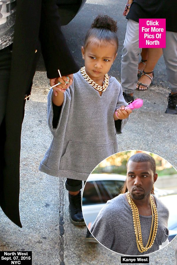 North West Copies Daddy Kanye West S Exact Look With Gray Shirt Gold Chain Kanye West Kanye Health Fashion