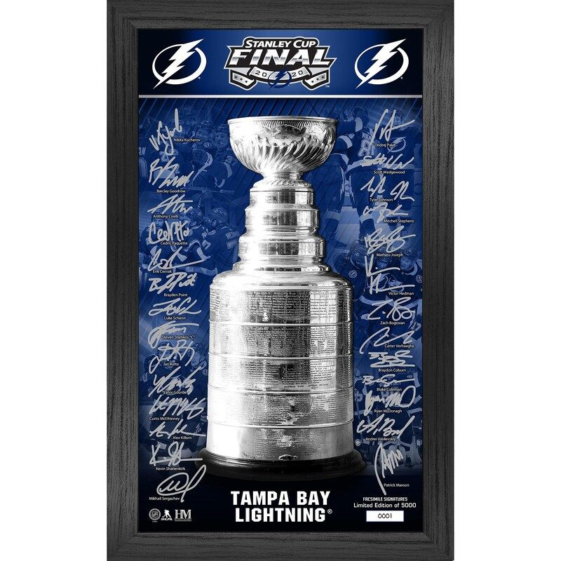 Show off your excitement for the Tampa Bay Lightning with this 2020 Stanley Cup Final Bound 12'' x 20'' Signature Trophy Framed Photo. This Highland Mint item features stunning graphics that make it clear where your allegiance lies on game day. You'll never forget this awesome season when you make this Tampa Bay Lightning piece part of your collection.