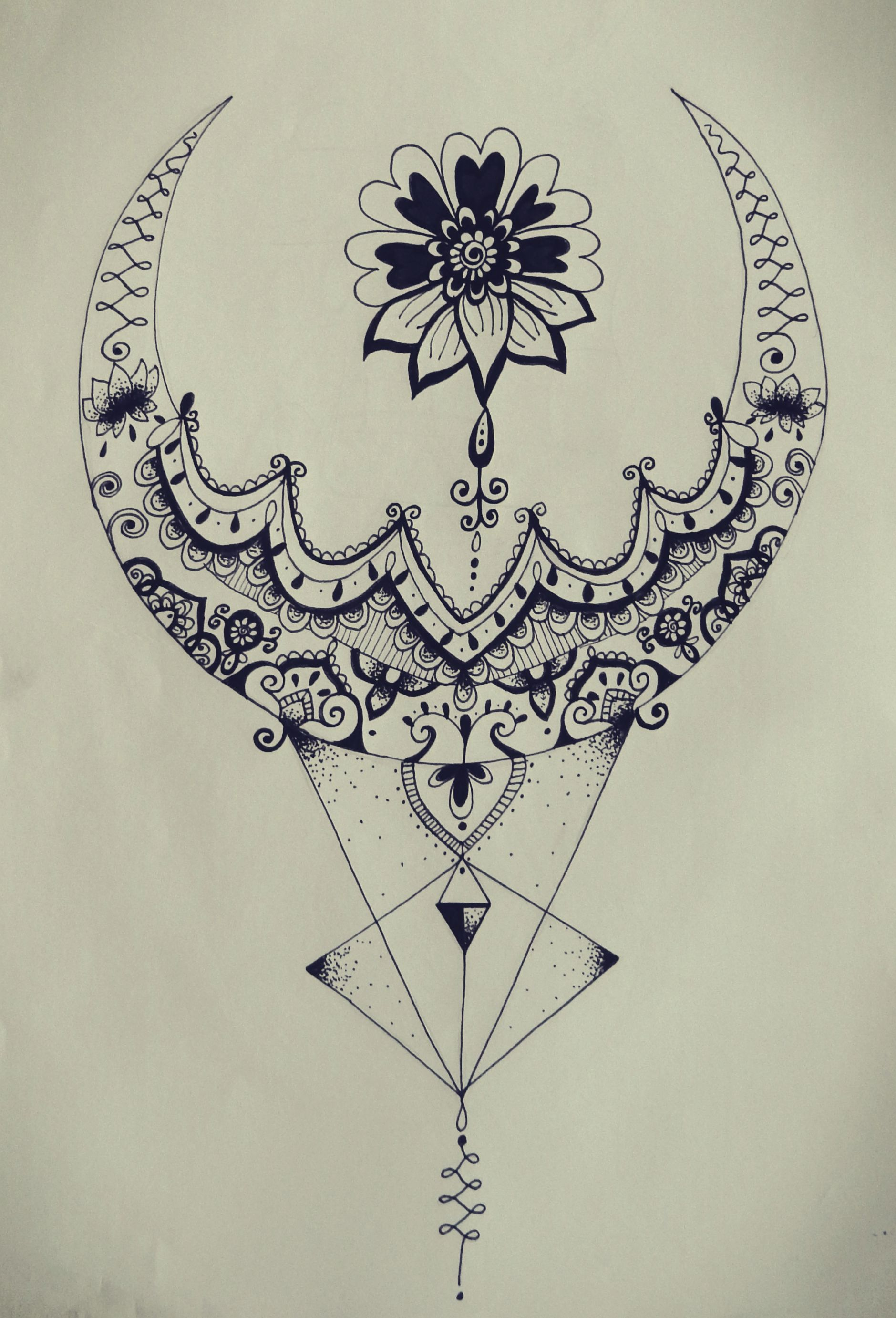 Triangle Zentangle Floral Moon Mandala Tattoo Design Tattoo