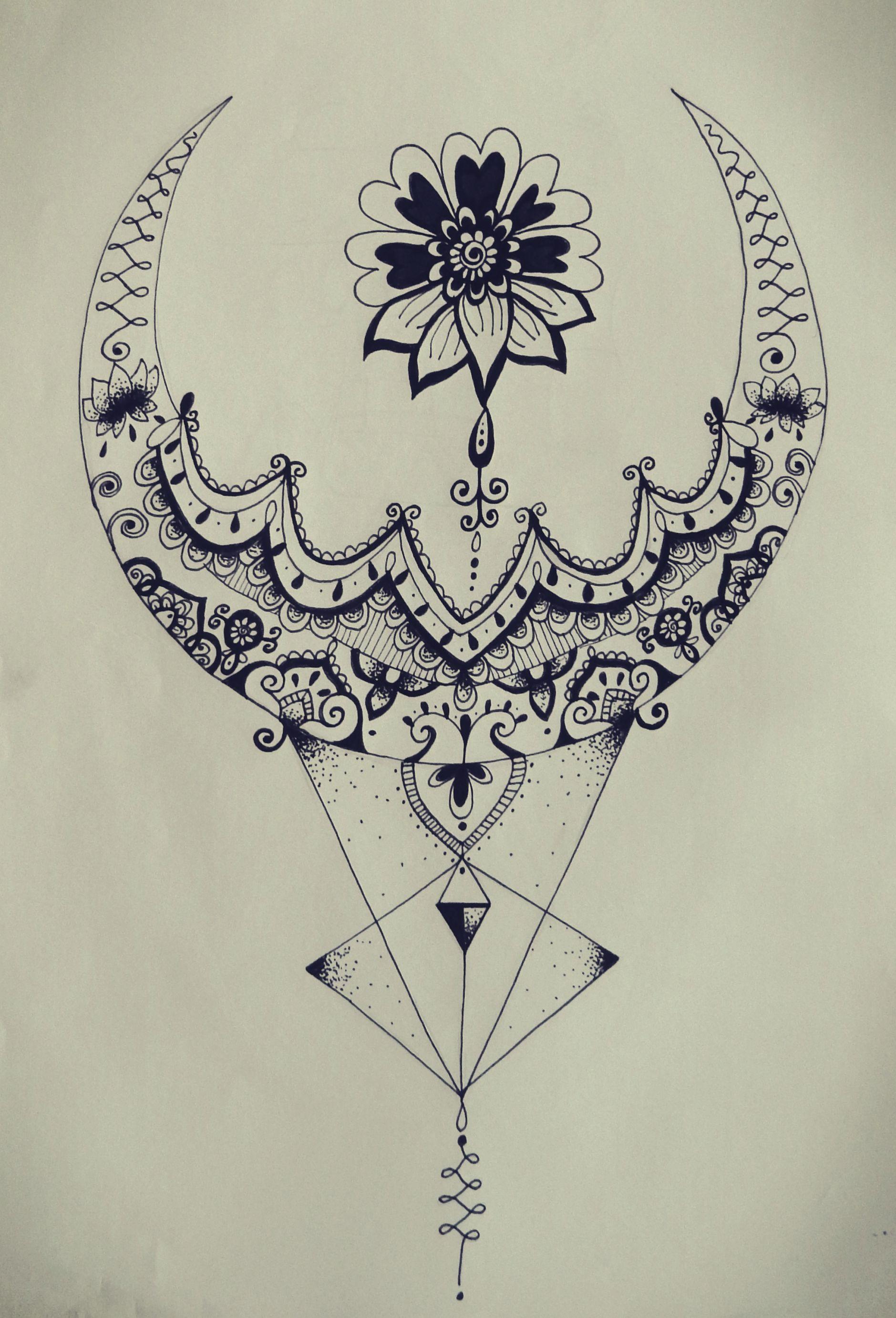 Triangle zentangle floral moon mandala tattoo design tattoos