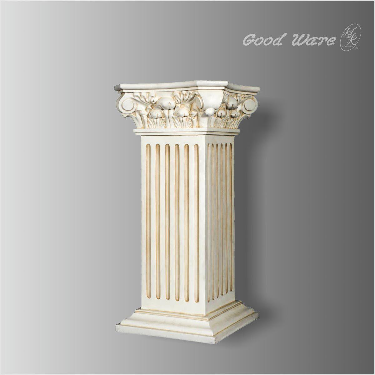 Gc 802 Polyurethane Antique White Pedestal Plant Stand Square Columns Pedestal Stand Pedestal