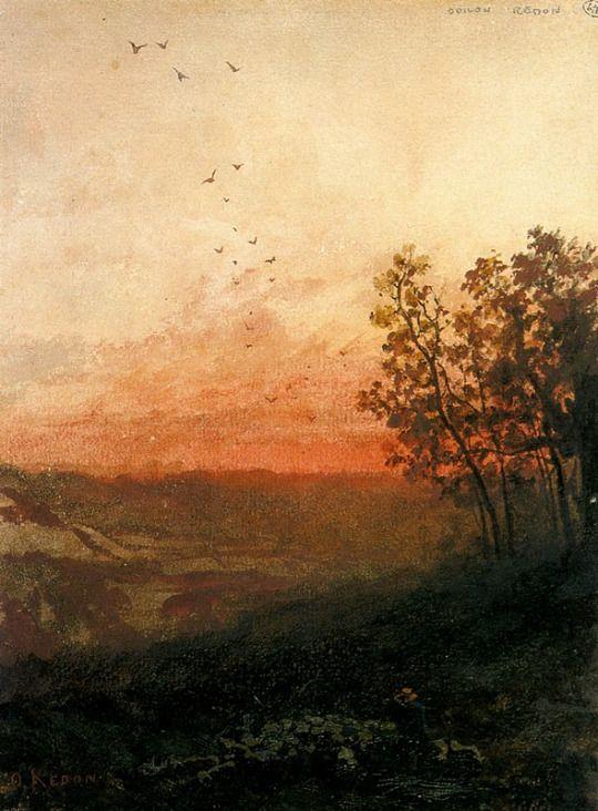 Odilon Redon - Landscape with Sunse
