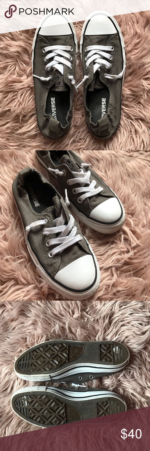Olive Green Converse Sneakers Khaki green lace up slip on