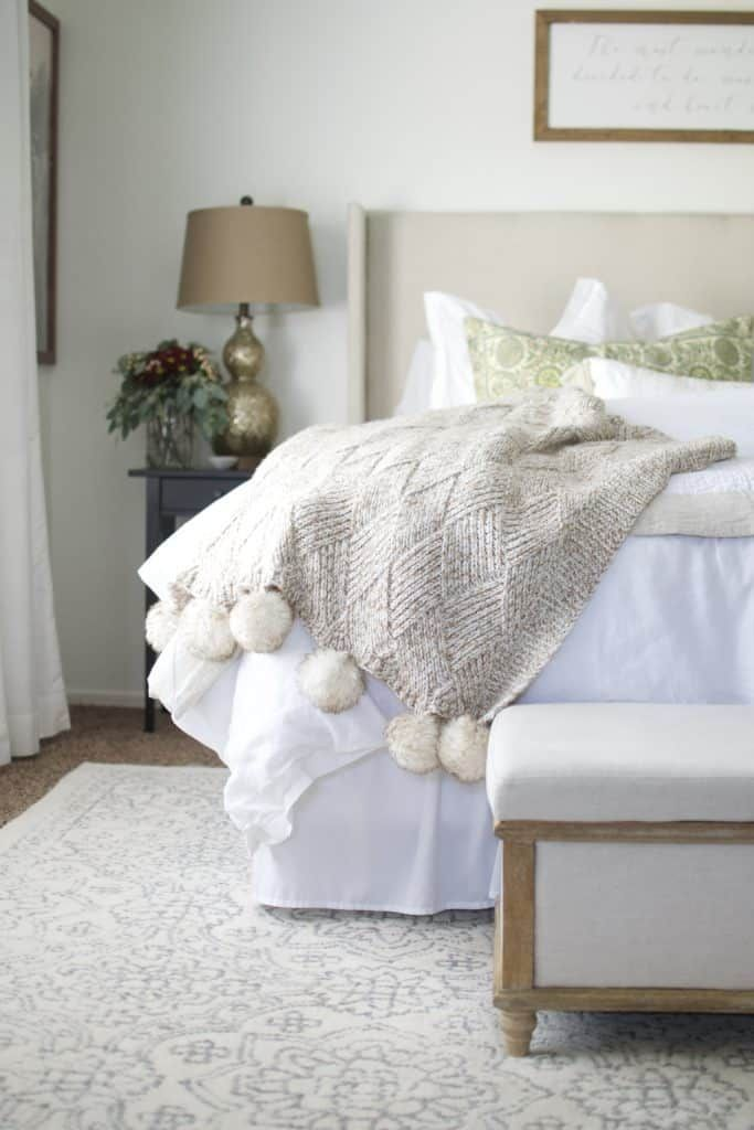Simply White by Benjamin Moore. Neutral Texture in White Master Bedroom. #simplywhite #whitebedroom #whitehome #cozymaster #cozybedroom #linenbedding #whitepaint #benjaminmoore #neutral #neutralhome #masterbedroom #masterbedroomideas #diyheadboards