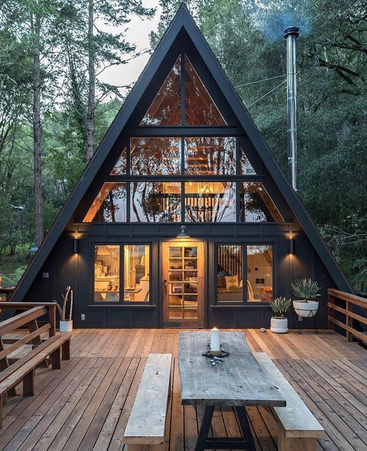 How Cool Is This Cabin Designed By Blythedesignco Invernessaframe Follow Us Thecabinland House Exterior Tiny House Cabin Forest House