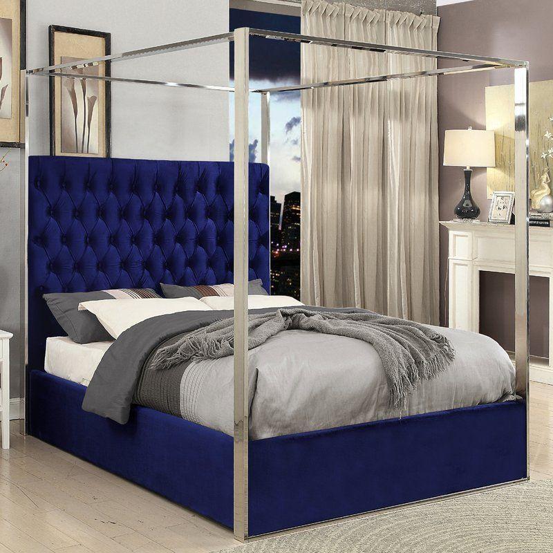 Pamala Velvet Upholstered Canopy Bed Bedroom bed design