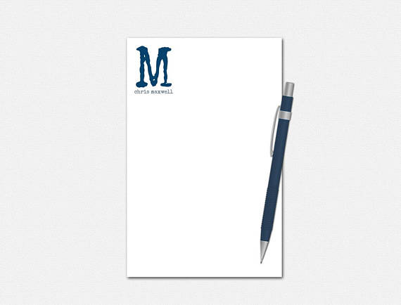 Custom Stationery Gifts for Men Jacob Personalized Notepad 5.5 x 8.5 Writing Pad 50 Pages