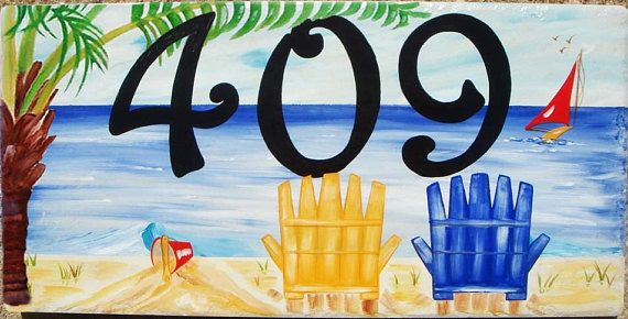Hand Painted Beach House Number Sign With Palm Tree