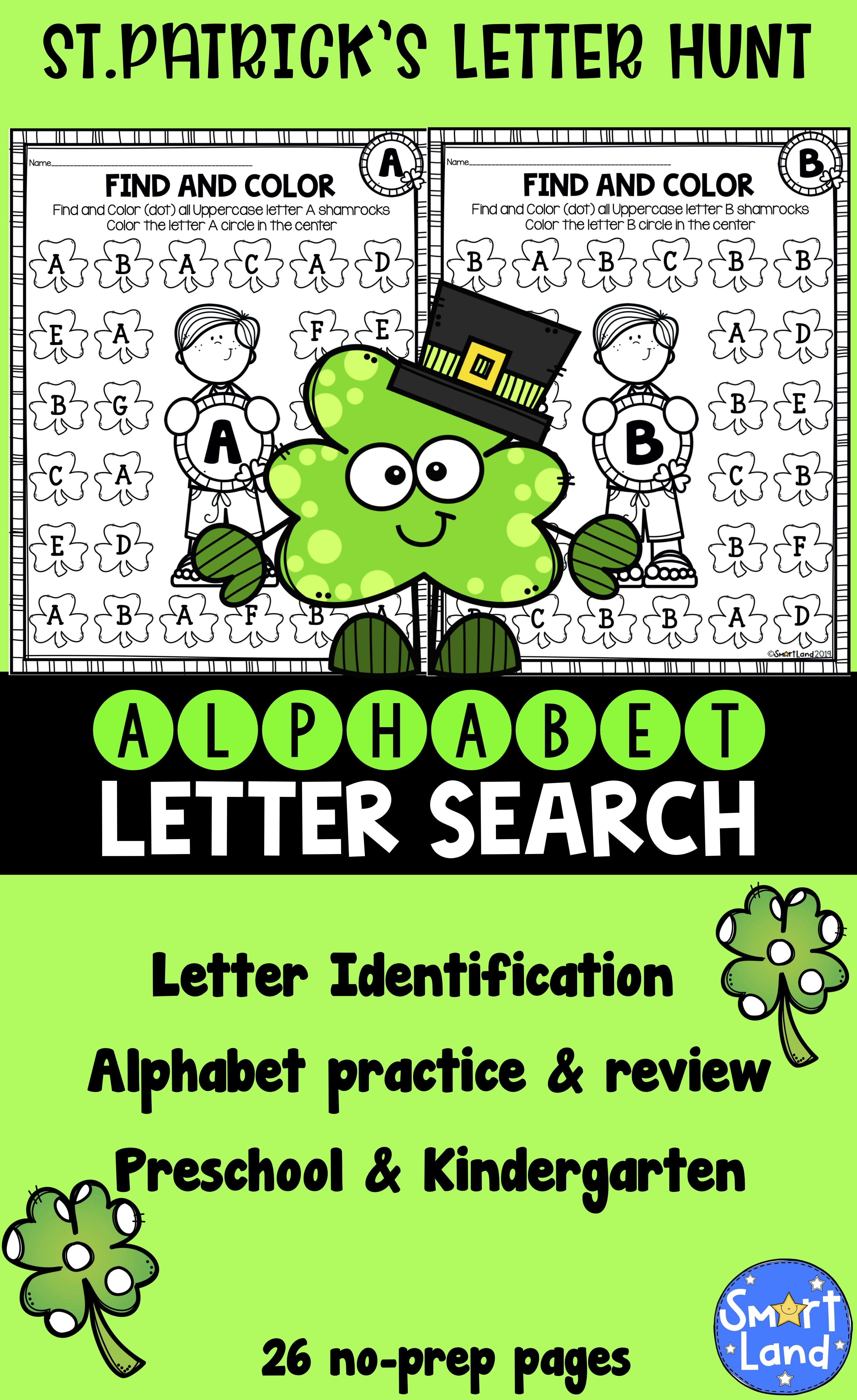 Alphabet Practice Letter Search Shamrock In
