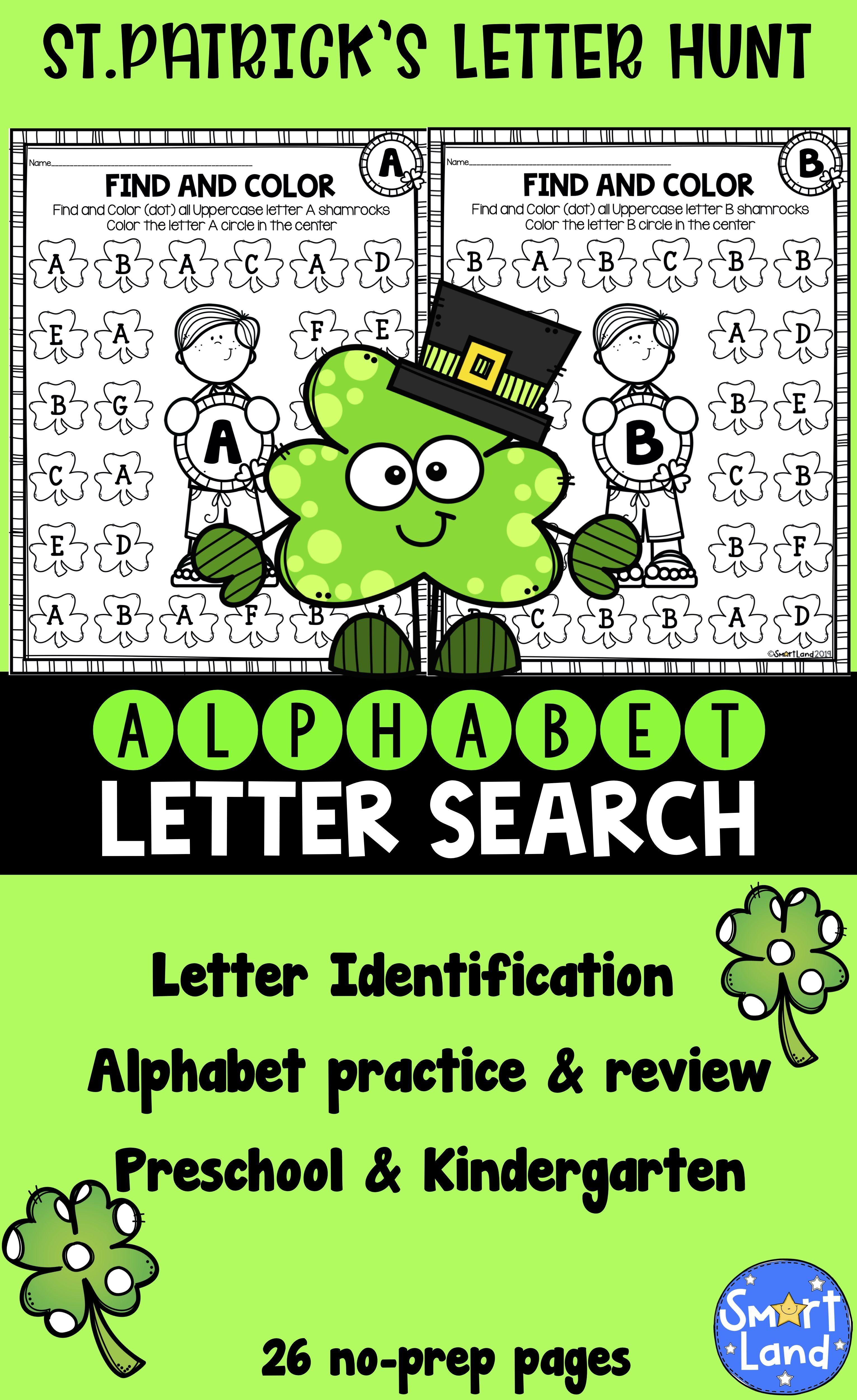 Alphabet Practice Letter Search Shamrock
