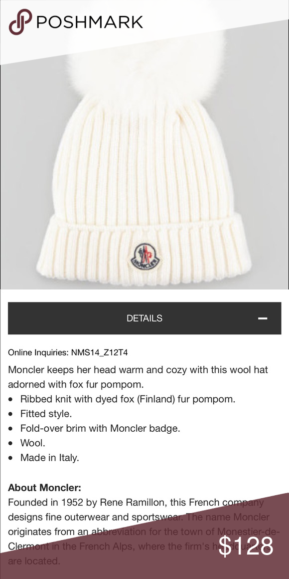 58edd6d4e Moncler ribbed knit hat cream small authentic This is a children's ...