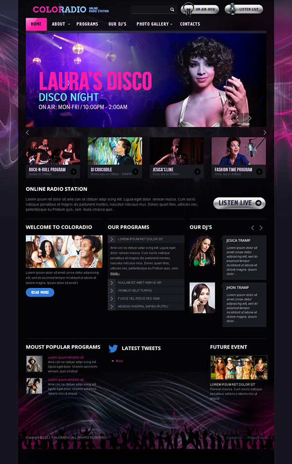 ColoRadio Online Radio Station Bootstrap HTML Template on Behance ...