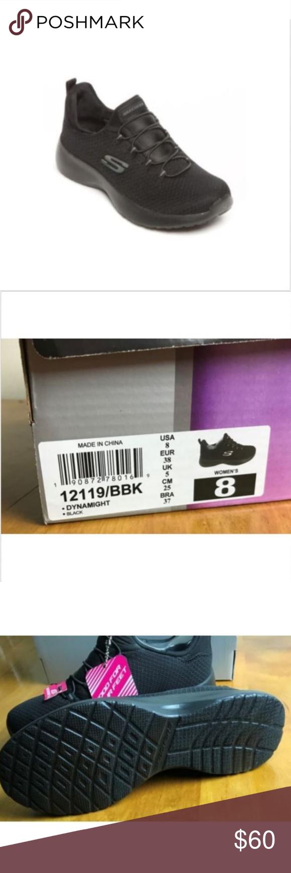 Skechers Womens 8 5m Black Sneakers Slip On Skechers Sport Womens