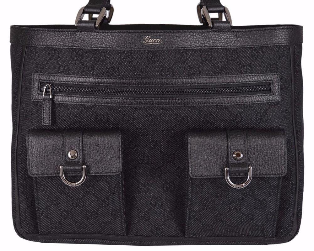1a410025ef NEW Gucci 268639 Black Denim Abbey Pockets GG Guccissima Handbag Purse Tote   Gucci  ShoulderBag