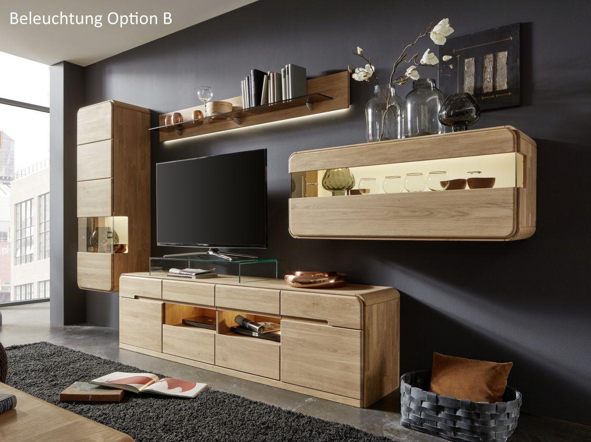 Wohnwand In Eiche Bianco Massiv Inter Furn Round Holz Modern Jetzt  Bestellen Unter: Https
