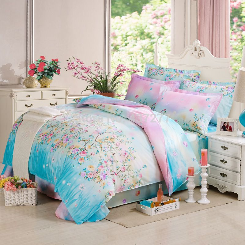 spring pastoral tree flower birds bedding set bed linens with queen polyester duvetquilt cover - Bed Set Queen