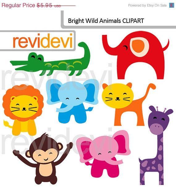 80 Off Sale Cute Colorful Animals Clipart Bright Wild Animals Digital Clipart 07580 Cute Wild Animals Animal Clipart Animals Wild