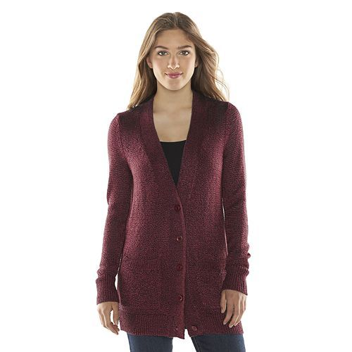 Mudd® Boyfriend Cardigan - Juniors | Crisp Merlot | Ideas for ...