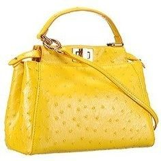 7f4e75be1123 Replica Fendi Peekaboo Mini Ostrich Leather Yellow Bag