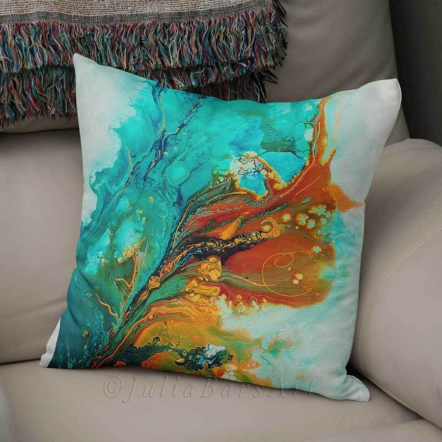 Prime Abstract Throw Pillow Teal Turquoise And Orange In 2019 Theyellowbook Wood Chair Design Ideas Theyellowbookinfo