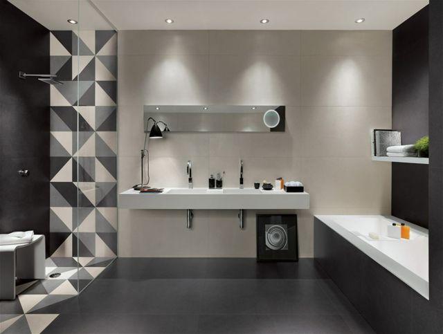 Schwarz-Grau-Weiß-Dreieck-Badezimmer-Fliesen-Großformat-Matt