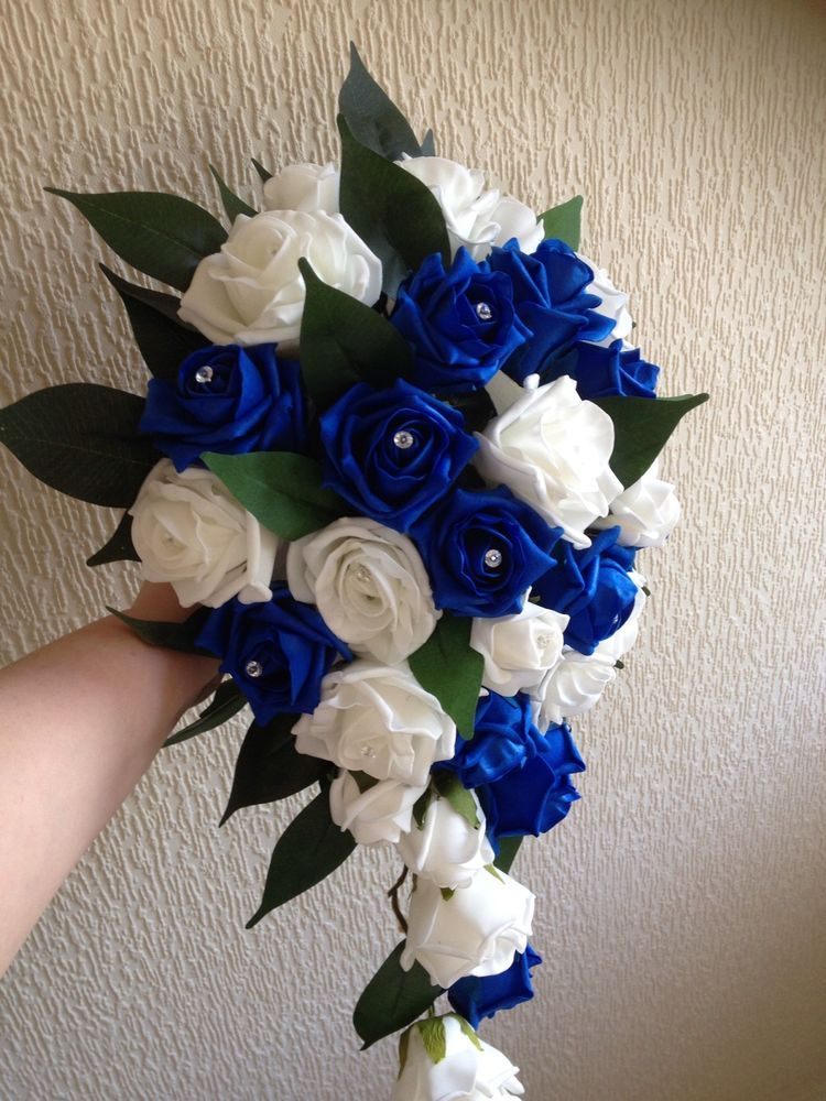 Wedding flower royal blue and white rose brides teardrop bouquet ...