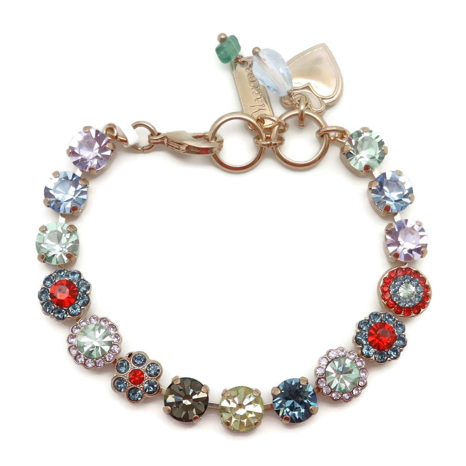 Mariana swarovski rose gold bracelet multi color floral strand