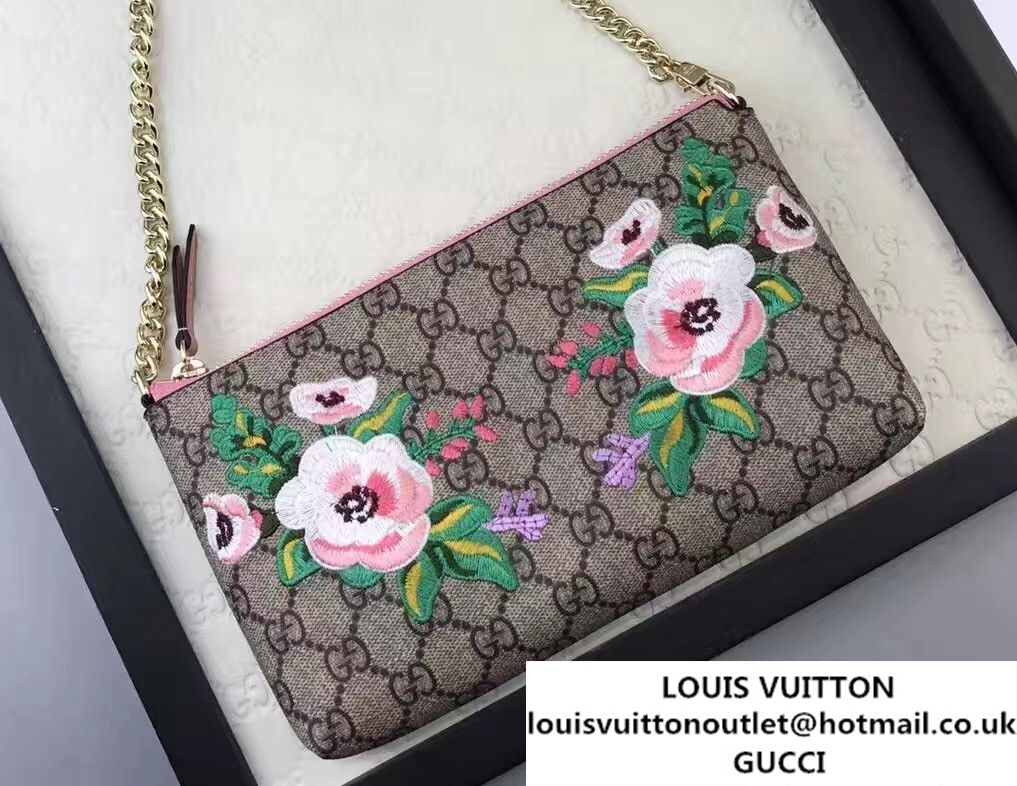 Gucci Embroidered Flowers Exclusive GG Supreme Wrist Chain Wallet Bag  456866 Pink 2017 b12268bac620e