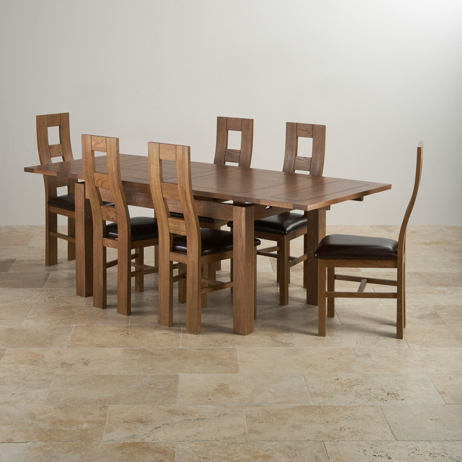 Admirable Rustic Solid Oak Dining Set 4Ft 7 Extending Table With 6 Creativecarmelina Interior Chair Design Creativecarmelinacom