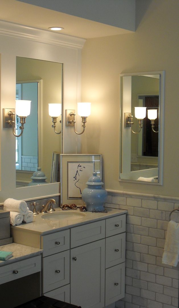White Bath Featuring Cabinets By Decora Carrara Type African Marble Subway Tile Hudson Vall Interior Design Companies Kitchen Bathroom Remodel Design Company