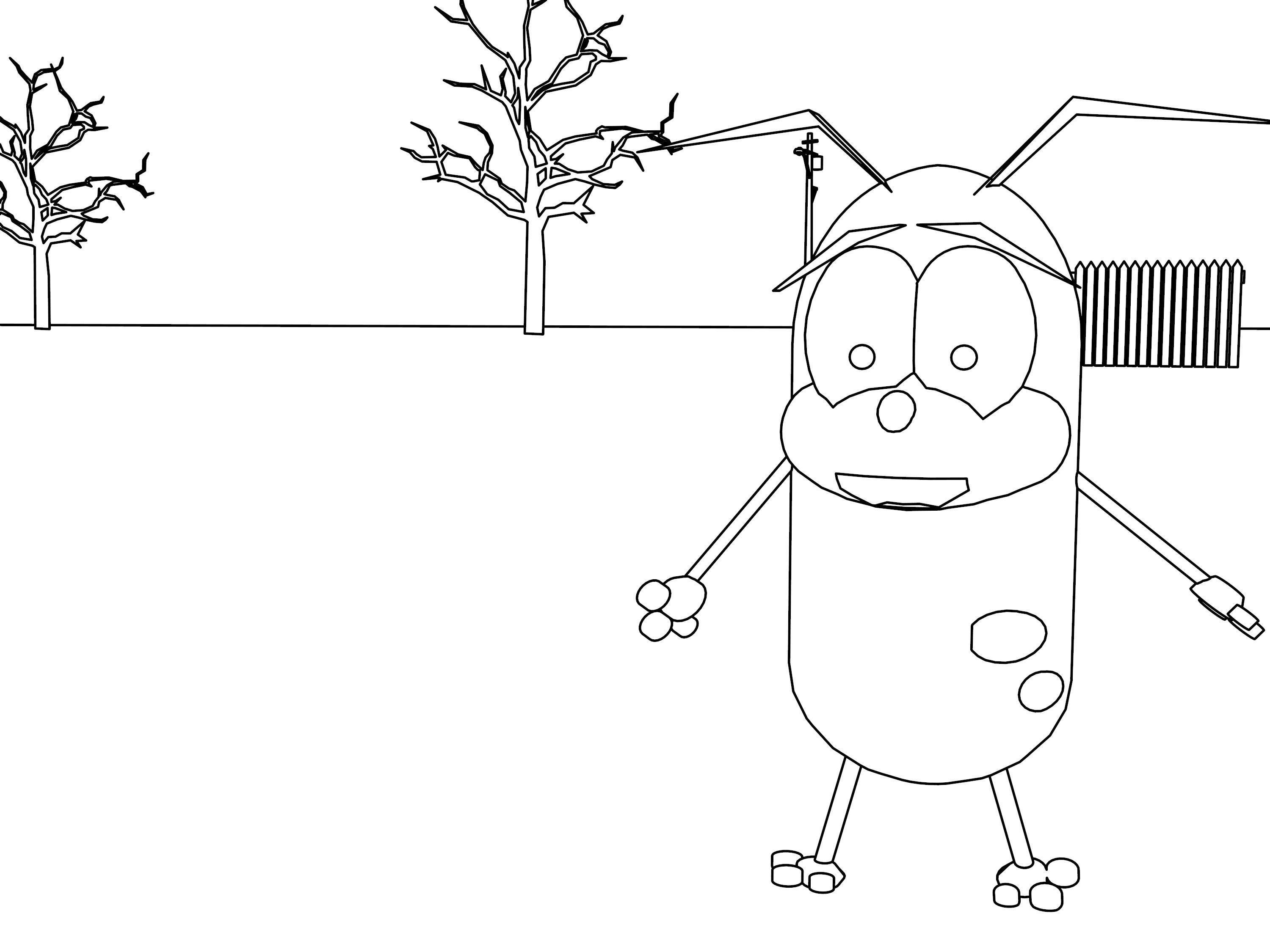Cool Courage The Cowardly Dog Cartoon Coloring Pages Cartoon