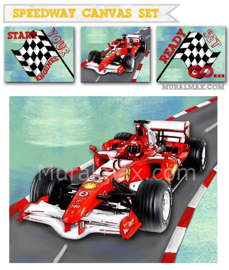 Race Car Children S Murals Raceway Grand Prix Mural Children S