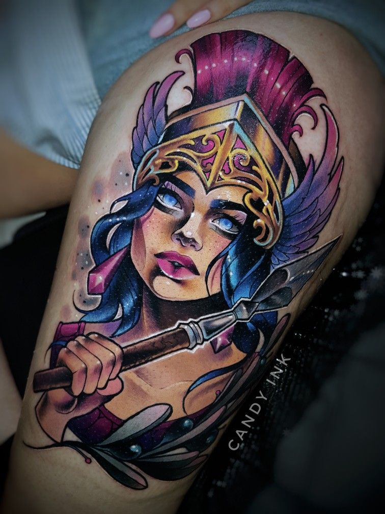 New School Girly Tattoos: #neo #traditional #new #school #athene #girly #colorful